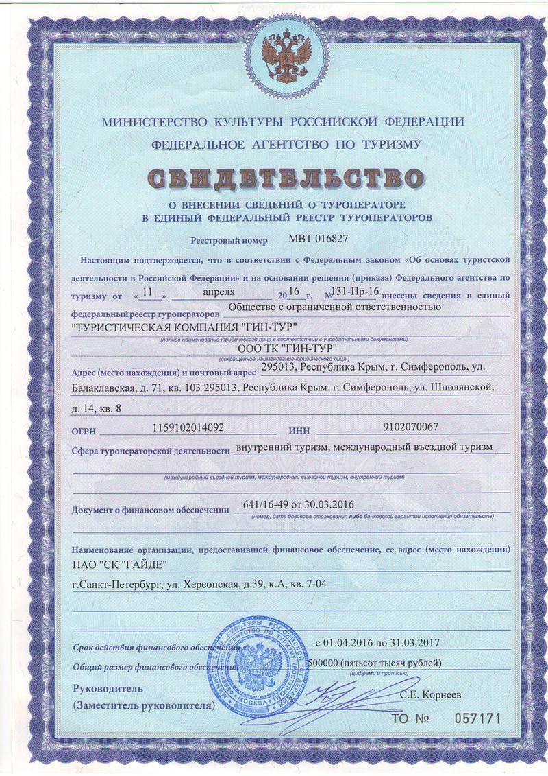 Внесение в реестр туроператора ГИН-ТУР ИНН:9102070067